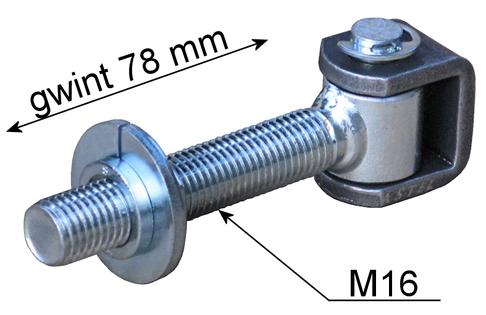Zawias regulowany M16 wydłużona śruba, długi gwint - do furtki bramy