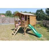 Domek ogrodowy dla dzieci 4IQ Gucio drewniany ze ślizgiem i tarasem zdjęcie 2