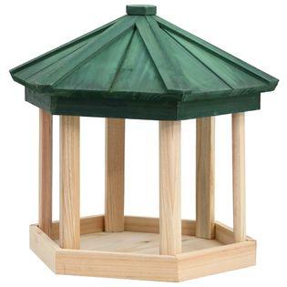 Ośmiokątny karmnik dla ptaków, lite drewno jodłowe, 33x30 cm