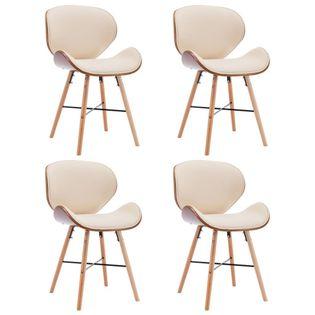 Lumarko Krzesła jadalniane, 4 szt., kremowe, ekoskóra i gięte drewno