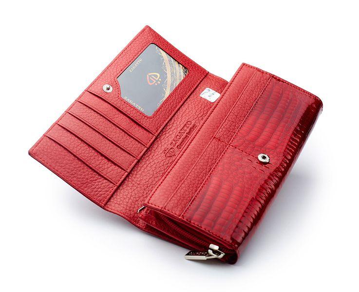 Czerwony skórzany portfel na suwak Zagatto ZG-55288-RS zdjęcie 5