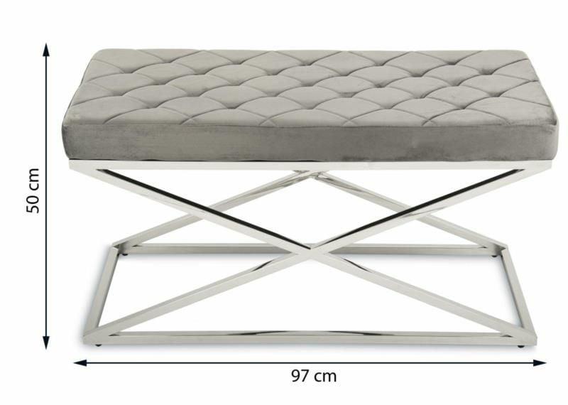 Pikowana pufa siedzisko ławeczka ławka Glamour zdjęcie 2