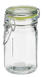 Pojemnik szklany hermetyczny słoik ośmiokątny EDO 260 ml pokrywka szklana metalowa klamra klips zielona uszczelka