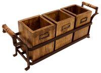 Metalowy Stojak Z 3 Drewnianymi Pudełkami