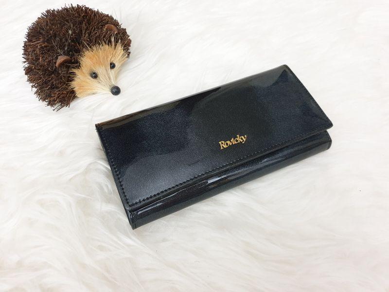 ROVICKY portfel skórzany damski lakierowany RFID P085 czarny zdjęcie 3