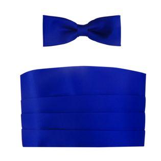 Kobaltowy - niebieski pas smokingowy z muchą slim