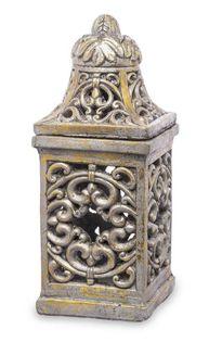 Lampion Zdobiony złoty z Nakryciem 38x16x16 cm