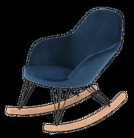Granatowy fotel bujany Simple 98x67x89cm