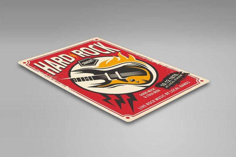 Wydruk na metalu, Retro – hard rock gitara 30x40 zdjęcie 2