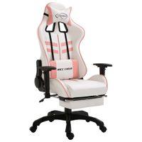 Fotel dla gracza z podnóżkiem, różowy, sztuczna skóra