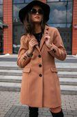 Prosty płaszcz z kieszeniami z przodu-beżowy XXL (44)