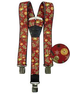 Czerwone szelki w świąteczny wzór SZ74