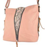Listonoszka torebka damska różowa na ramię torba worek z przegródką