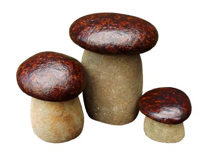 Figurki grzybki brązowe zestaw 3 sztuki