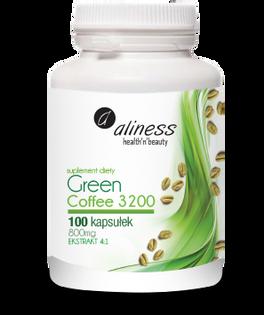 Green coffe 3200 zielona kawa 800mg 100kaps Aliness