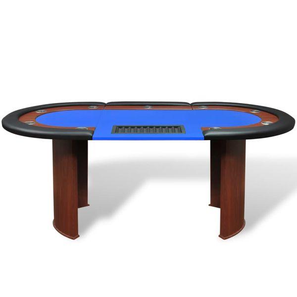 Stół do pokera dla 10 graczy z tacą na żetony, niebieski zdjęcie 2