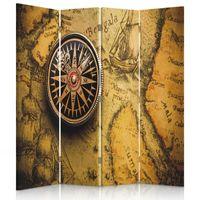 Parawan ozdobny, Kompas na starej mapie 145x180