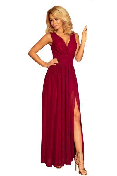 Sukienka Maxi Na Przyjęcie Wesele Bal Bordowa Na Ramiączka 166-3 L 40 zdjęcie 7