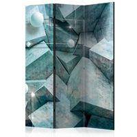 Parawan 3-częściowy - Betonowe sześciany (zielony) [Room Dividers]