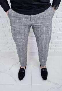 Szare spodnie lniane w krate meskie regular Fiesta-1 - 32
