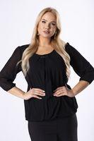 Elegancka bluzka z zakładkami na dekolcie - Czarny XL