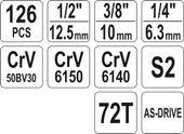 ZESTAW NARZĘDZIOWY 126 CZĘŚCI YATO  YT-38875 zdjęcie 6