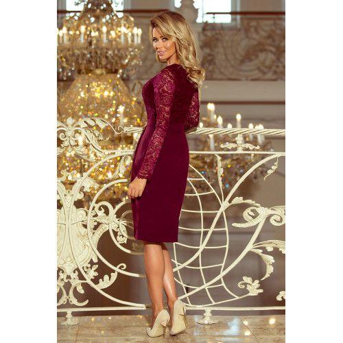 204b661809 Elegancka sukienka ołówkowa z koronką EMMA - BORDOWA XXL • Arena.pl