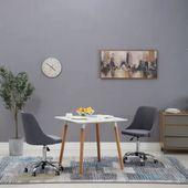 Krzesła na kółkach do jadalni, 2 szt., tkanina, ciemnoszare