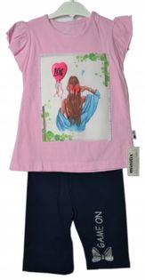 Komplet Gril 3D, koszulka+legginsy 3/4,bawełna 110