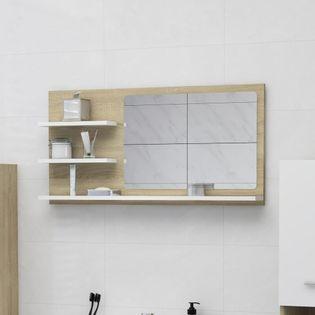 Lumarko Lustro łazienkowe, biel i dąb sonoma, 90x10,5x45 cm, płyta