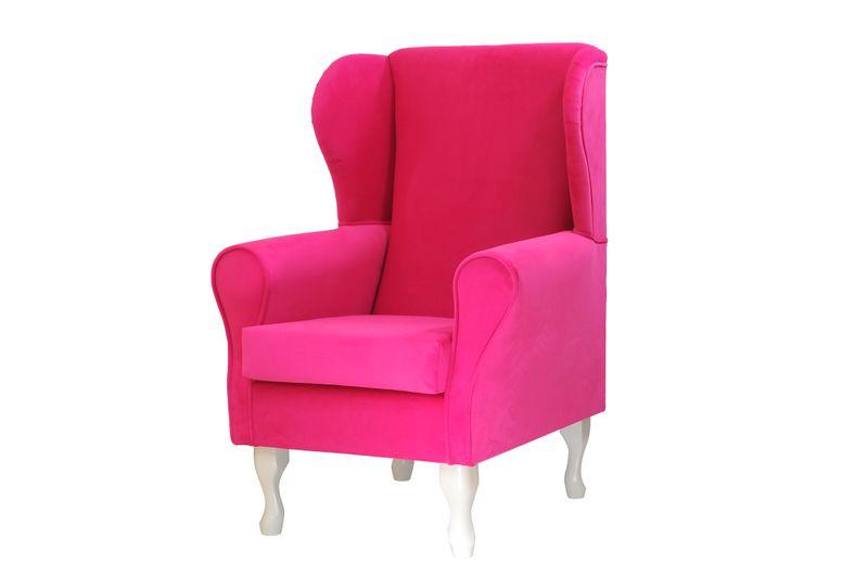 Fotel uszak różowy gładki zdjęcie 1