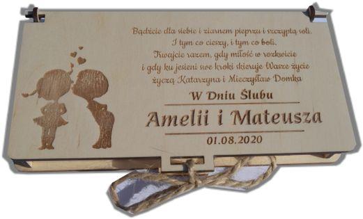 Pudełko drewniane na pieniądze z grawerem I Komunia Święta, Chrzest, Ślub, urodziny
