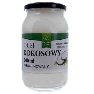 Olej Kokosowy Nierafinowany - Tłoczony Na Zimno - Extra Virgin 900 ml - Zielony Nurt