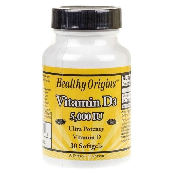 Healthy Origins Witamina D3 5000 IU - 30 kapsułek zdjęcie 1