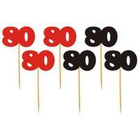 Dekoracja ozdoba piker na 80 URODZINY patyczek x6