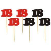 Dekoracja ozdoba piker na 18 URODZINY patyczek x6