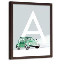 Plakat na ścianę w ramie brązowej, A jak auto 50x70