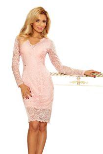 Dopasowana, koronkowa sukienka z subtelnym dekoltem - Różowy XL