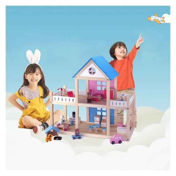 VIGA Drewniany domek dla lalek 4 figurki mebelki na Arena.pl