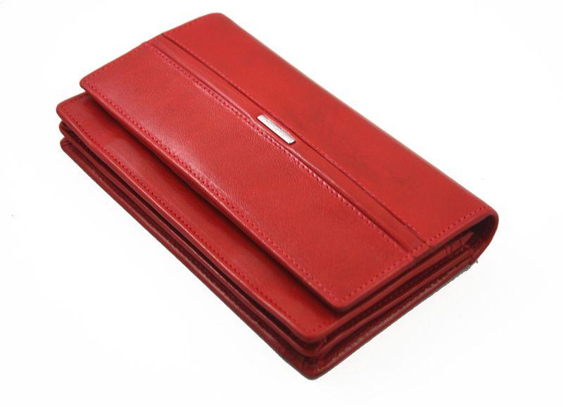 Portfel damski Samsonite RFID, skórzany w kolorze czerwonym zdjęcie 3
