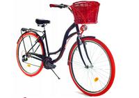 """Rower Dallas City 28"""" 7spd - czarny z czerwonym + kosz wiklina"""