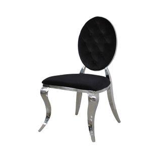 Krzesło Ludwik II glamour Black krzesła pikowane guzikami