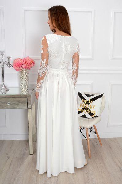 Zjawiskowa długa biała suknia sukienka koronkowa ślub wesele zdjęcie 4