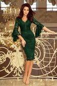 Koronkowa sukienka z falbaniastymi rękawami - Zielony XL