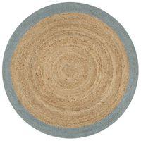 Ręcznie wykonany dywanik, juta, oliwkowozielona krawędź, 90 cm