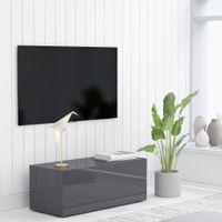 Lumarko Szafka pod TV, szara, wysoki połysk, 80x34x30 cm, płyta wiórowa