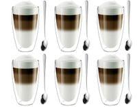 Szklanki Termiczne z Podwójną Ścianką Kawa Latte z Łyżeczkami 6 sztuk