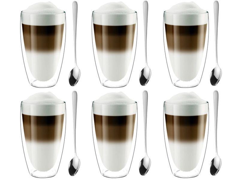 Szklanki Termiczne z Podwójną Ścianką Kawa Latte z Łyżeczkami 6 sztuk zdjęcie 1