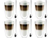 Szklanki Termiczne z Podwójną Ścianką Kawa Latte 380ml Łyżeczki 6sztuk