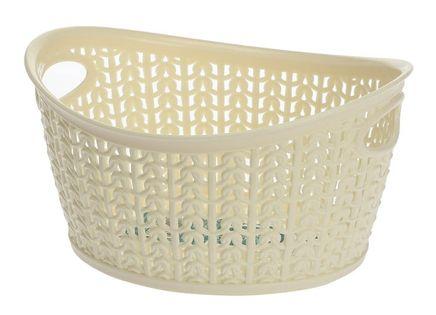 Koszyk kosz owalny organizer WILLOW 1,5 l kremowy ażurowy sweterkowy wzór